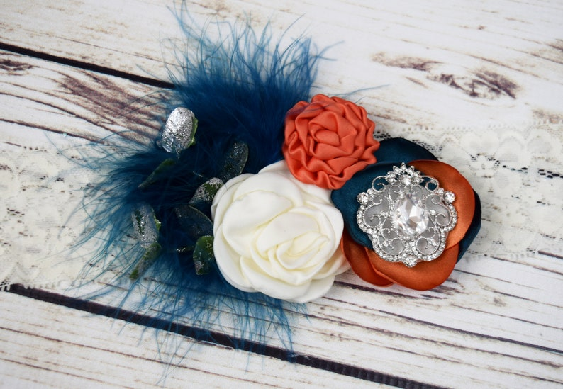Handcrafted Teal and Orange Floral Headband Boho Fall Baby image 0