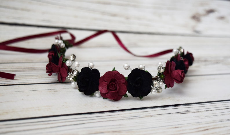 Handcrafted Burgundy and Black Flower Crown Bridal Pearl image 0