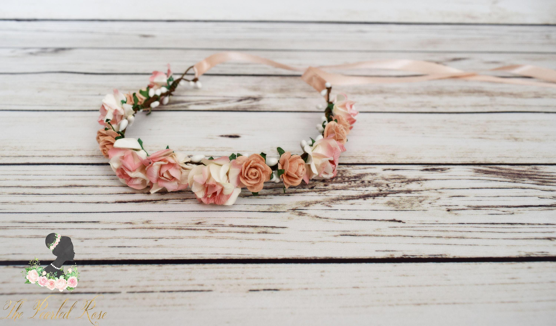 Peach flower crown romantic wedding peach flower girl halo etsy zoom izmirmasajfo