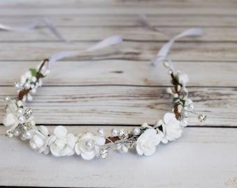 Small White Rose Flower Crown - Pearl Rhinestone Flower Crown - White Bridal Rose Crown - Flower Girl Halo - Small White Flower Crown - Halo