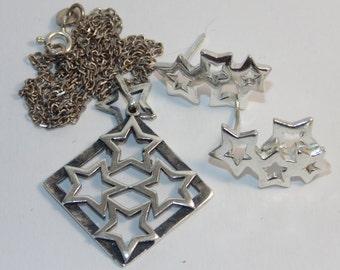 22e92dae6ba9 SS35 Vintage Estate Sterling Silver Set Estrella Estrellas Pendientes  Perforados Collar Colgante Collar de Cadena Joyería Joyería para Ella