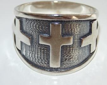 SR19 Vintage Estate Sterling Silver Mens Rocker Biker Large Cross Etched Signet Ring Band 925 US Size 11 Jewelry Jewellery For Him
