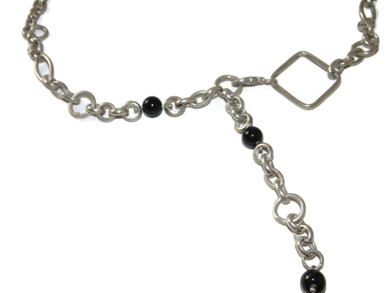 925 Sterling Silver Necklace Pendant Vintage Estate Artisan Adj Length Black Beads Chain 23 Jewelry Jewellery Gift For Her Argent