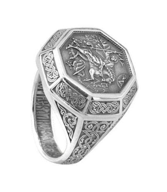Religious Men Catholics Orthodox Signet Sterling Silver Ring St George Protector