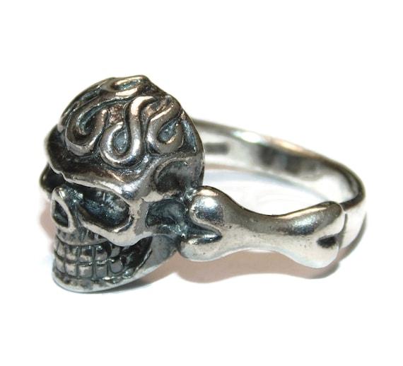 Vintage Estate Solid Sterling Silver Man Mens Gothic Punk Rocker Biker Ring Band Skulls Skeleton US Size 9 Jewelry Jewellery For Him 925