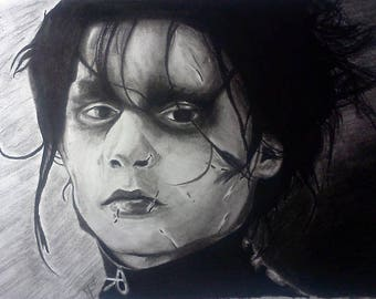 Edward Scissorhands Charcoal Drawing