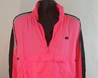 5e0153308575 Vintage 80s Nike Mens L Windbreaker Pullover Hot Pink Black Color Block  Jacket