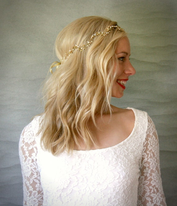 Welliges Gold Braut Haar Rebe Hochzeit Haar Accessoire Etsy