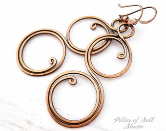 Large Solid copper earrings - Wire wrapped earrings - wire wrapped jewelry handmade - wire jewelry - copper jewelry - spiral earrings