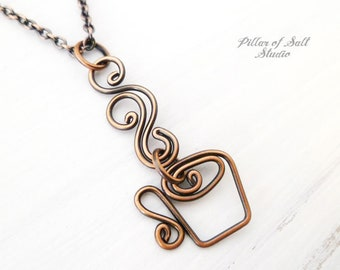 Coffee Necklace - copper wire wrapped jewelry handmade - coffee lover gift idea - gift for mom - copper pendant necklace gift for her