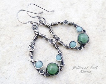 45e96a50e Sterling Silver Teardrop Wire wrapped earrings worn by Rosario Dawson on  Jane The Virgin - Green Aventurine and Blue Amazonite gemstones