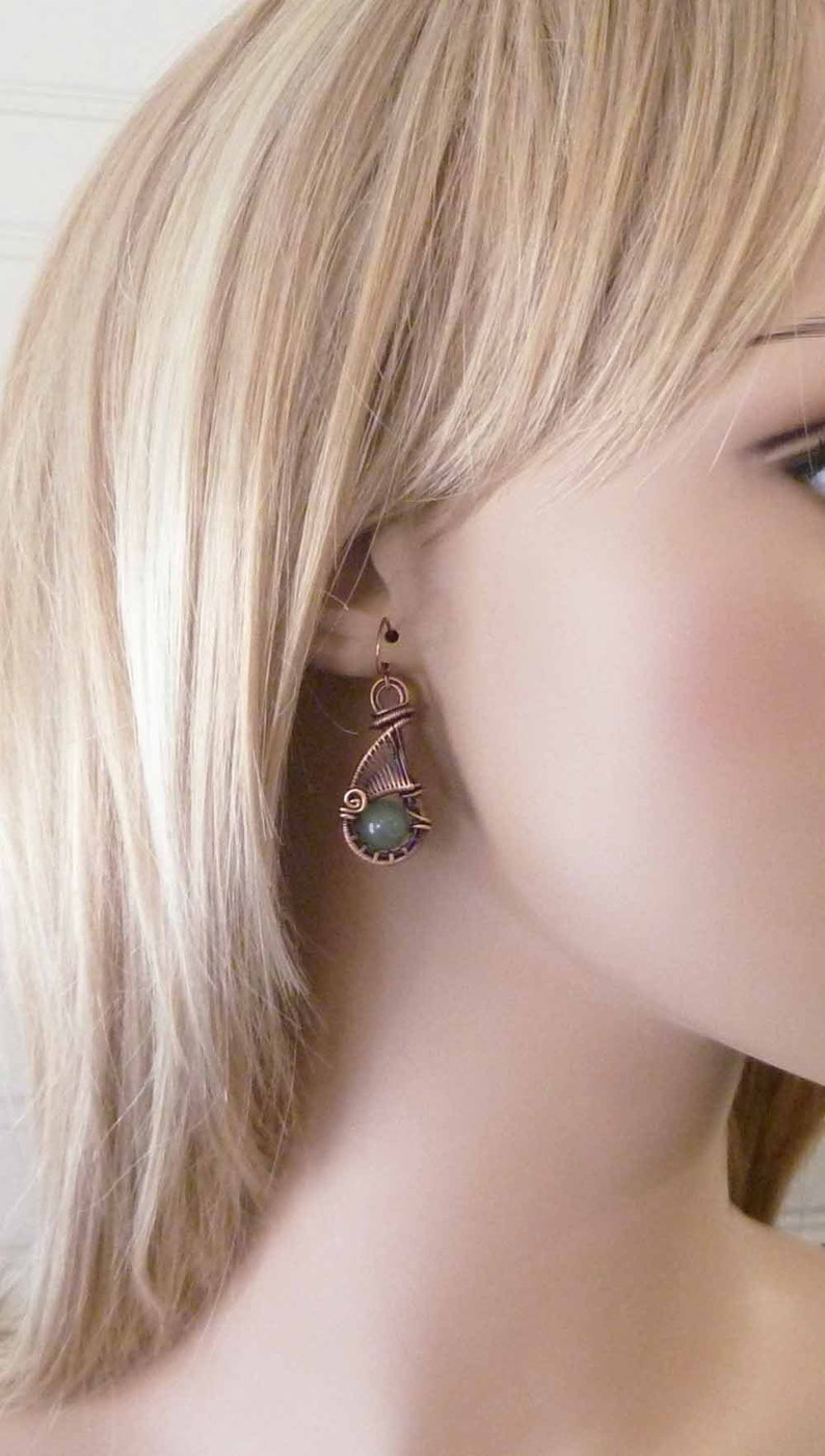 wire jewelry dangle earrings woven wire teardrop Wire wrapped earrings handmade Copper jewelry earthy Green Aventurine stones
