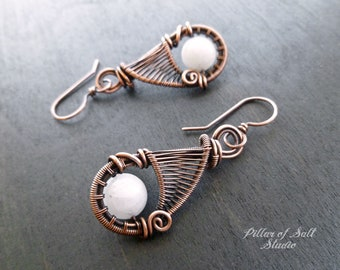 Wire wrapped earrings - white Quartz earrings - wire wrapped jewelry handmade - woven wire - rustic antiqued copper jewelry gifts for her