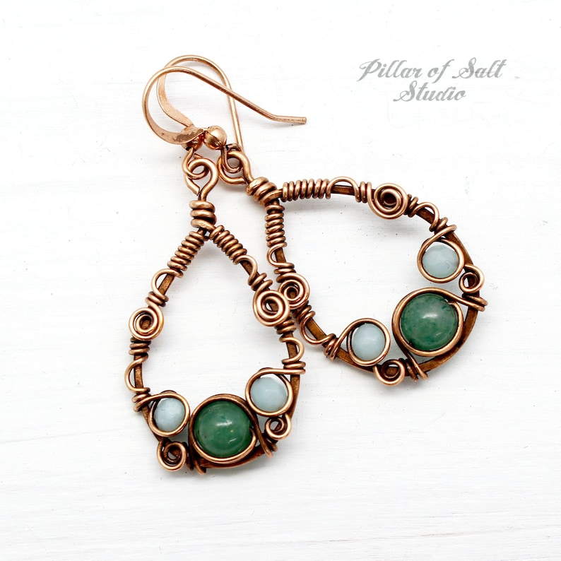 rustic boho wire wrapped jewelry handmade Copper Teardrop Wire wrapped earrings with Green Aventurine and Blue Amazonite gemstones