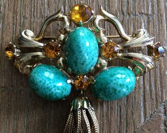 Sassy Turquoise and Citrine Tassel Brooch / Pin