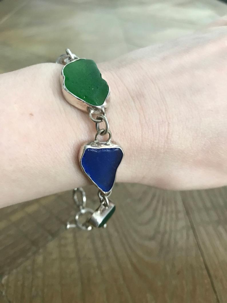 Sea Glass Silver Jewelry Set Earrings and Ring Bracelet