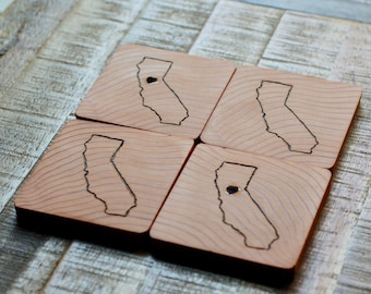 California Redwood Drink Coasters | Set of 2 or 4 Can Be Personalized | California Love