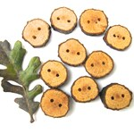 Natural Wood Buttons, Oak Buttons, Tree Slice Buttons, Wooden Buttons - Quantity 10
