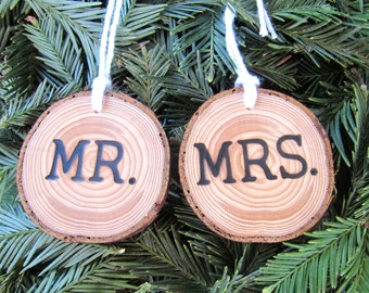 Wedding Christmas Ornament with Date for Custom Weddings and Mr and Mrs | Personalized Wedding Ornament