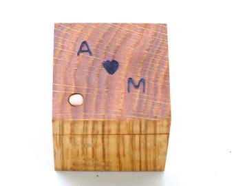 Custom Oak Ring Box | Wood 5th Anniversary Gift | Personalized Ring Holder