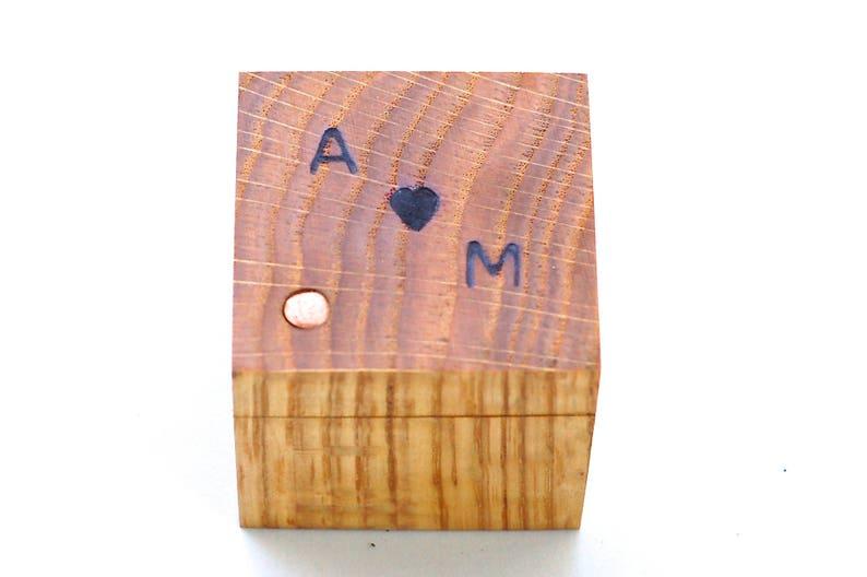 Custom Oak Ring Box  Wood 5th Anniversary Gift  Personalized image 0