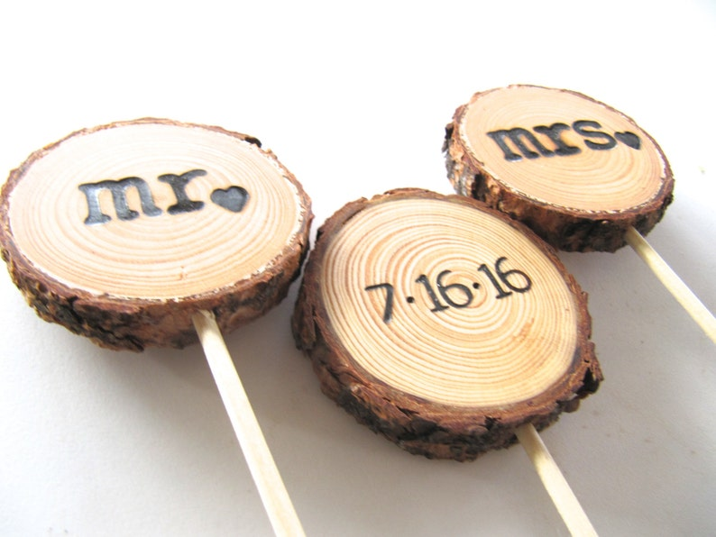 Wedding Cake Topper made from Custom Rustic Wood Slice image 0