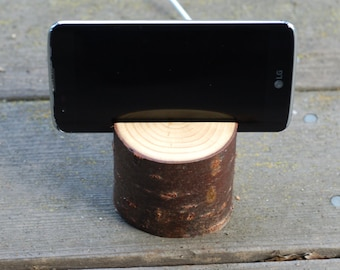 Cell Phone Stand & Charger, Wood Cell Phone Holder for Desk or Nightstand, 5th Anniversary, Wood Anniversary