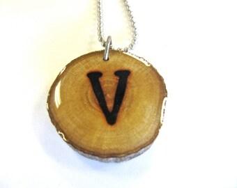 Letter V Necklace, Reclaimed Wood
