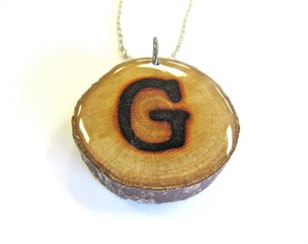 Reclaimed Wood, Letter G Necklace