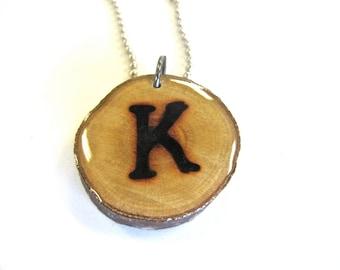 Letter K Necklace, Reclaimed Wood