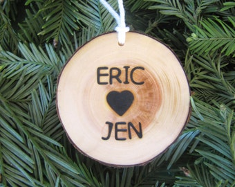 Christmas Tree Ornament Two Sided, Personalized Ornament, Wedding Ornament