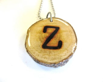 Letter Z Necklace, Reclaimed Wood
