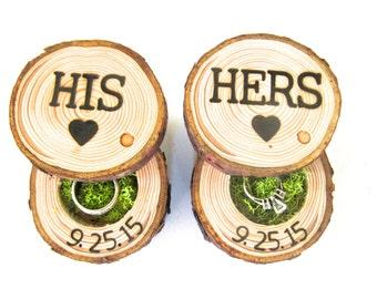 Ring Bearer Box | His and Hers Wedding Ring Box | Wood Ring Box