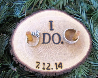 Ring Bearer Pillow, Wood Ring Pillow, Wooden Ring Pillow