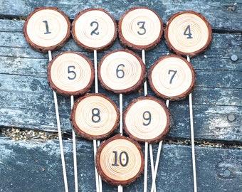 Wood Table Numbers | Rustic Weddings | Hand Branded