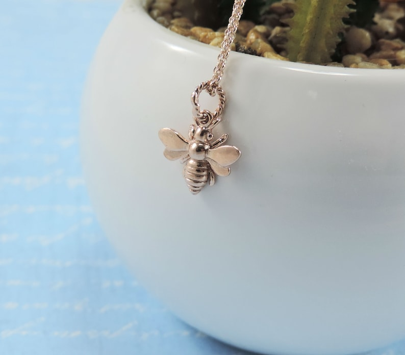 Honey Bee Necklace • Silver/Gold/Rose Gold Solid Bumble Bee 3D Chubby Charm  Necklace • Queen Bee, Mother Bee, Mothers Day Gift, Gift for her