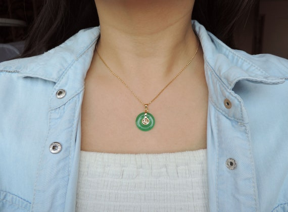 JP022 Chinese Traditional Type Pendant 14k Gold Over 925 Sterling Silver Green Jade With Chinese Word FORTUNE Pendant