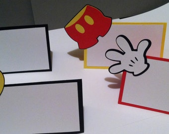 12 Mickey Mouse Themed Place Cards Food Birthday Party Decor Disney