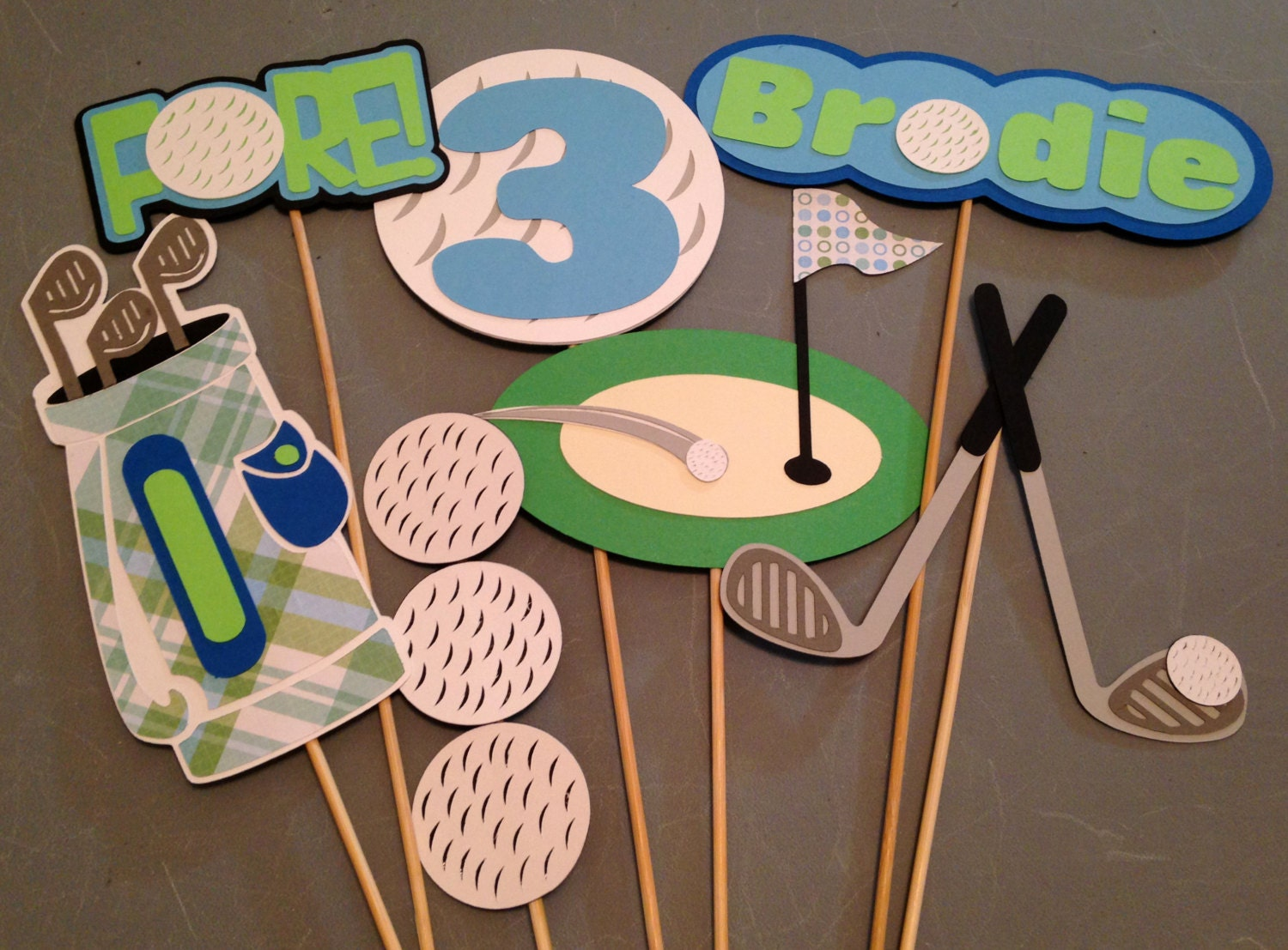 7pc golf themed centerpiece personalized with name and age etsy