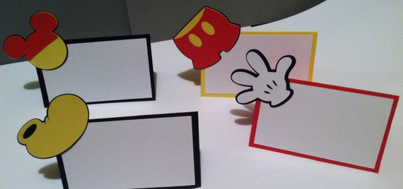 12 Mickey Mouse Themed Place Cards Food Birthday Party