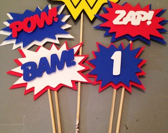 Wonder Woman Centerpiece,5 pc, Superhero party, Wonder Woman  Party, Wonder Woman  Birthday Party