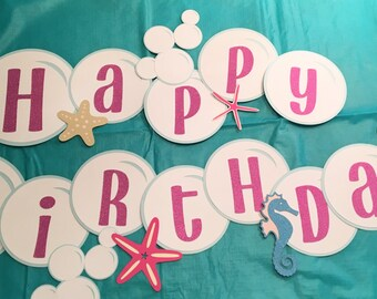 Mermaid party, Mermaid birthday banner, Under the Sea party, Mermaid and bubbles
