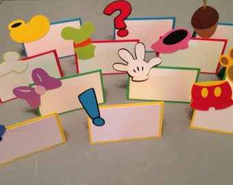 12 Mickey Mouse Clubhouse themed food cards, Mickey Mouse place cards, Disney party