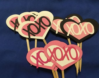 12 XO toppers, Love toppers, Valentine inspired toppers, Love party