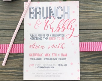 Bridal shower Brunch, brunch and bubbly, bubbles, shower invitation