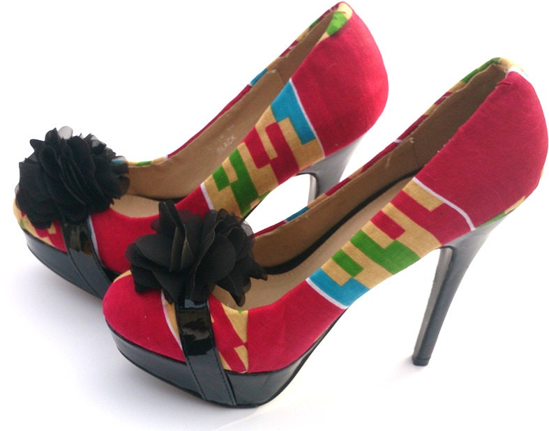 Pink and black ladies ladies black platform shoes, Fabric Covered Shoe, kente shoe, Prom shoe, wedding(UK Size 7) 2c4ae7