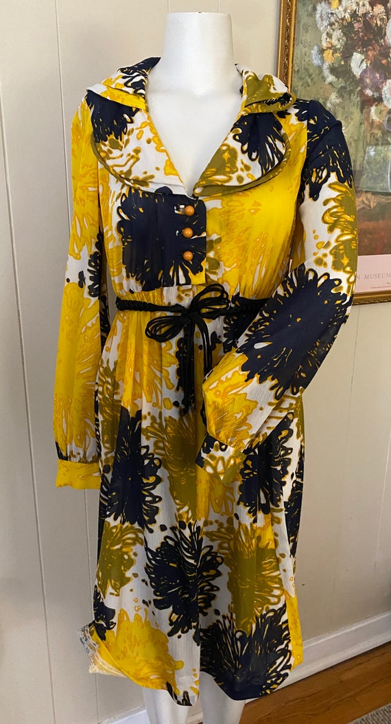 Vintage Blue & Yellow Floral Dress