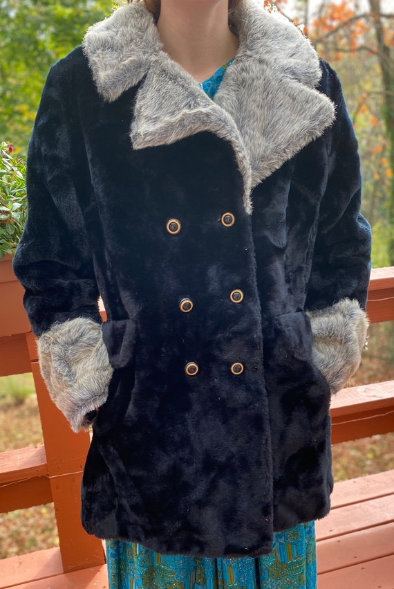 Vintage 60s Black Faux Fur Coat