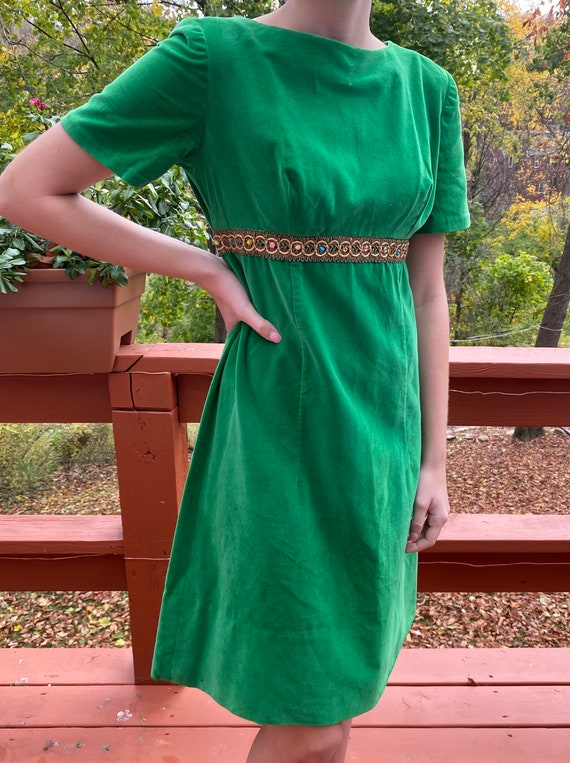 Vintage Green Velvet Party Dress size Small