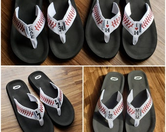 d4b09631bad40 Baseball Flip Flops Personalized Baseball Sandals w  stitches. I heart love  player   number